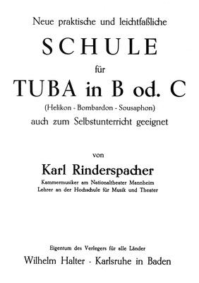 Musikverlag Wilhelm Halter - Rinderspacher Tuba Bb or C